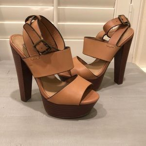 2cbee7f4abc Steve Madden Shoes - Steve Madden Dezzzy tan leather platform heels